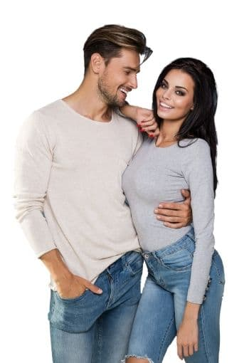 Man and woman in denim and long sleeve cotton smiling and happy.